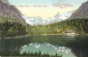 Tátra, Magas Tátra, Vysoké Tatry; Poprádi tó és menház / Poppersee und Schutzhütte / Poprádské pleso, chata / lake, rest house, tourist shelter, chalet