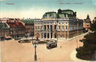 Pozsony, Pressburg, Bratislava; Városi színház, villamos, Grünhut Testvérek üzlete / theater, tram, shops (r)