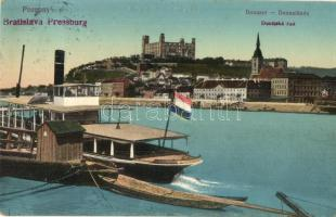 Pozsony, Pressburg, Bratislava; Duna sor, vár, gőzhajó / Donaulände / Dunajská rad / Danube, castle, steamship