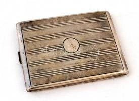 Ezüst (Ag.) art deco cigarettatárca, jelzett, mesterjeggyel (BM), nettó: 153 g, 11×8 cm