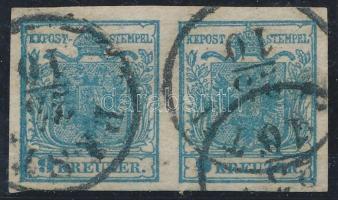 1850 9kr HP III pár, ívszéli nyomat PESTH Certificate: Huber