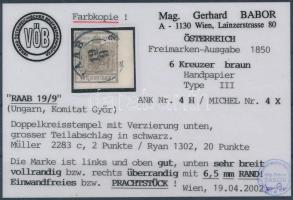 1850 6kr HP III 6,5 mm ívszéllel RAAB Certificate: Babor