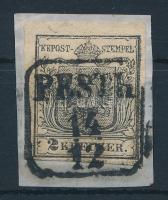 """2kr HP I  black, margin blackprint """"PESTH"""" Certificate: Steiner, 2kr HP I  fekete, ívszéli nyomat """"PESTH"""" Certificate: Steiner"""