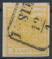 1850 1kr HP III kadmiumsárga PESTH Certificate: Babor