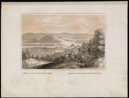 Kilátás a vörös kereszttől a dévéni hegyen - Ausicht vom rothen Kreutze auf dem Thebner Berg. Litográfia Szerelmey M: műhelyéből. cca 1850 . 22x16 cm