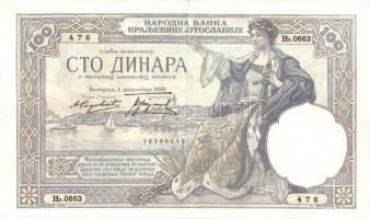 Jugoszlávia 1929. 100D Karadorde vízjel T:II Yugoslavia 1929. 100 Dinara with Karadorde watermark C:XF  Krause 29.a