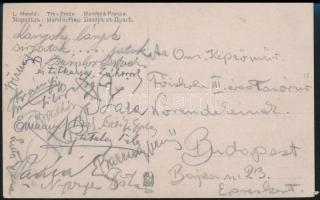 Az Országos Képzőművészeti Főiskola harmadéves tanárnőinek írt levelezőlap, sok aláírással