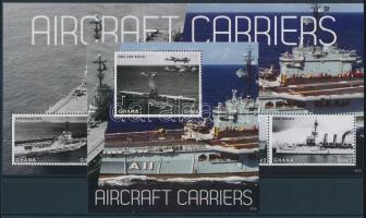 Aircraft Carriers minisheet + block, Repülőgép anyahajók kisív + blokk