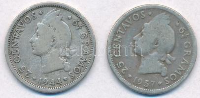Dominika 1937-1944. 25c Ag (2xklf) T:2- Dominican Republic 1937-1944. 25 Centavos Ag (2xdiff) C:VF Krause KM#20