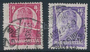 1929 Szent István II. 8f és 16f mindkét bélyeg papírránccal