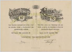 Sopron 1926. Soproni Takarékpénztár részvénye 10P-ről, magyar és német nyelvű, szárazpecséttel (3x) sorszámkövetők T:II