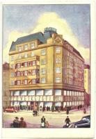 Budapest VII. Rákóczi út 36. Szövetkezeti bolt székháza a Rókussal szemben, üzlet, automobilok. Áruház megnyitási reklám s: Kanizsai + készpénzzel bérmentesítve (EK)