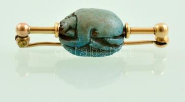 Arany (Au) 14K szkarabeuszos kitűző, jelzés nélkül, h: 3,5 cm