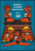 Kőszegi Judit (1944-): Edzett ifjúság, iskolatej. Tejipar plakát. Ofszet, Bp., Magyar Hirdető, Zalaegerszeg, Zalaegerszegi nyomda, 42x30 cm