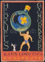 Gönczi-Gebhardt Tibor (1902-1994): Herkules Gyomorkeserű plakátterv, tempera, papír, jelzett, gyűrődéssel, 24×17 cm