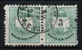 1881 3kr pár (széles és keskeny bélyeg) BU(DAPEST TŐ)ZSDE TÁVIRDA 3 SZ.