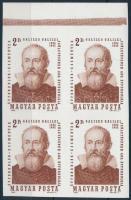 1964 Évfordulók - Események (II.) 2Ft G. Galilei ívszéli vágott 4-es tömb (8.000)