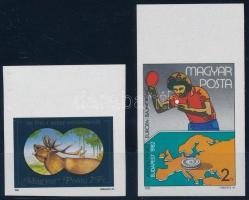 1981 100 éves a magyar vadászszövetség + 1982 Asztalitenisz EB 1-1 ívszéli vágott bélyeg (2.500)