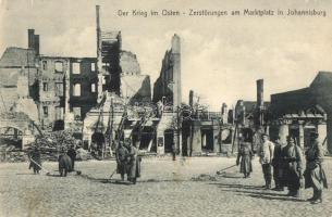 Pisz, Johannisburg; Der Krieg im Osten, Zerstörungen am Marktplatz / Destruction at the marketplace