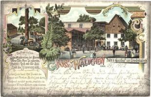 1902 Podlesie, Wäldchen; Poltes Gasthof zur Friedrichslinde / guest house, restaurant. Art Nouveau, floral, litho (EK)
