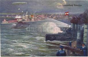 Beschiessung Venedigs / K.u.K. Kriegsmarine / WWI Bombardment of Venice with Austro-Hungarian Navy battleships. art postcard s: F. Höllerer