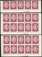 1960 Halasi csipke I. 3 Ft záróérték, összesen 45 db bélyeg: 4 db félív + ívsarki ötöscsík (**) + 2 db félív (pecsételt) (15.000)