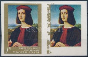 1968 Festmények V. 1Ft vágott pár, a jobb oldali bélyegen az arany szín majdnem teljesen hiányzik