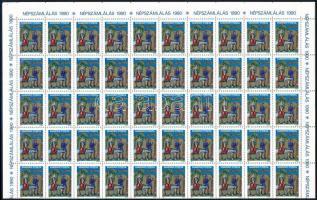 1988 Karácsony félív ívszééi felirattal + 1989 Karácsony teljes 100-as hajtott ív ívszéli felirattal (16.000)