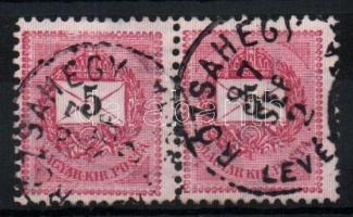 1889 5kr pár RÓZSAHEGY LEVÉLPOSTA
