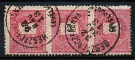 1889 5kr hármascsík BESZTERCEBÁNYA LEVÉLPOSTA