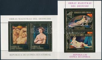 1975 Aktfestmények blokksor, Nude paintings blockset Mi 182-189