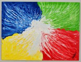 Czibor Ildikó (1969- ): Fröccsenés, olaj, farost, jelzett, 40×30 cm