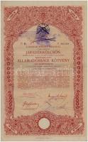 Budapest 1917. A magyar korona országai 6%-kal kamatozó Járadékkölcsön államadóssági kötvénye 100K-ról, szárazpecséttel és szelvényekkel, bélyegzéssel (2x) sorszámkövetők T:II- fo.