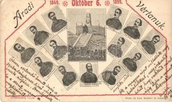 1899 Arad, Aradi vértanúk, 50. évforduló emléklapja. Nyomta és kiadja Muskát M. / 13 Hungarian martyrs of the Hungarian Revolution in 1848-49, 50th anniversary commemorative card (EK)