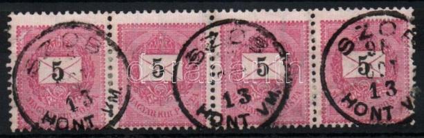 1889 5kr négyescsík SZON HONT VM.