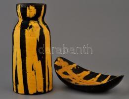 Gorka Lívia (1925-2011): Fekete-sárga tál és váza, festett mázas kerámia, jelzett, apró mázhibákkal, 22×14,5 cm, m: 23,5 cm