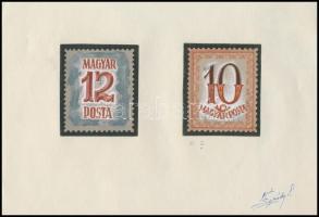 ~1960 Portó bélyegterv 12, 10 Légrády Sándor aláírásával (50 x 60 mm)