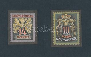 ~1960 Portó bélyegterv 14, 10 Légrády Sándor aláírásával (53 x 62 mm, illetve 58 x 70 mm)