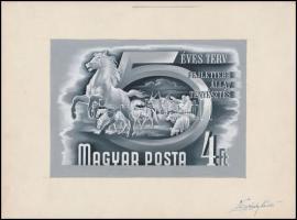 1950 Ötéves terv 4Ft bélyegterv Légrády Sándor aláírásával 8185 x 130 mm)
