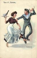 1914 Tanz III Csárdás / WWI Austro-Hungarian Navy K.u.K. Kriegsmarine humorous dancing mariner art postcard. C. Fano, Pola. 47. 1914/15. s: Ed Dworak (EK)