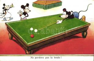 Ne perdons pas la boule! / Dont lose the ball! Mickey Mouse playing billiard, pool, cue sports (fa)