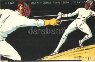 1924 Paris, Jeux Olympiques, Épée / 1924 Summer Olympics advertisement postcard, fencing. L. Pautauberge litho s: H. L. Roowy (EK)