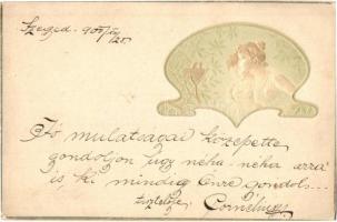1900 Raphael Kirchner style embossed art postcard