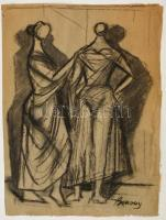 Barcsay jelzéssel: Női alakok. Szén, papír, 37×26 cm