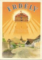 Erdélyi részek visszacsatolásának emlékére. Megjöttünk testvérek! Hozzuk a szívünket, de ha kell, Erdélyért adjuk a vérünket! / entry of the Hungarian troops to Transylvania, irredenta propaganda. s: Németh N.