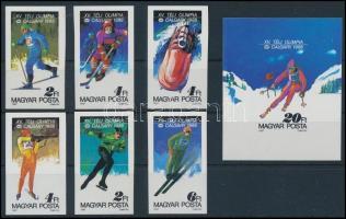1987 Téli olimpia vágott sor és vágott blokk (8.000) (rozsdafoltok / stain)