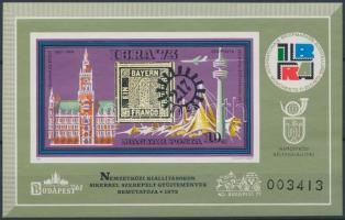 1973 IBRA ajándék blokk hátoldalán A MAGYAR POSTA AJÁNDÉKA felirattal (42.000)