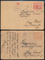 1919-1920 2 db cenzúrázott díjjegyes levelezőlap Nagyváradra