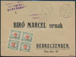 1919 Debrecen 4 x 10f portózott levél cenzúrázva, Bíró Marcelnek