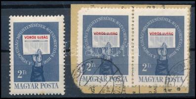1958 Kommunisták Magyarországi Pártja 2Ft pár elcsúszott piros színnel + támpéldány